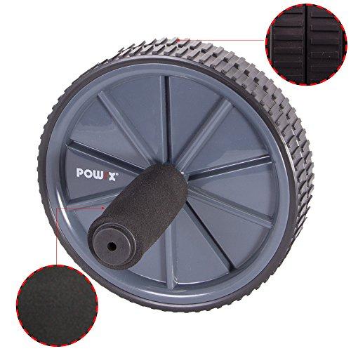 POWRX Bauchtrainer | AB-Roller mit Doppel-Rolle | Bauchmuskeltrainer stabil und sicher | AB-Wheel für Mann und Frau | schneller Aufbau | gepolsterte Griffe