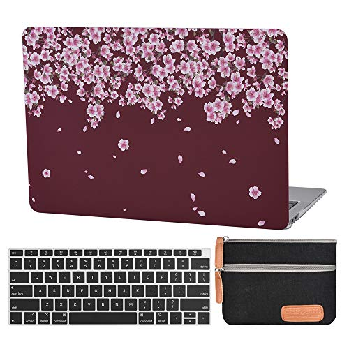 13 Inch Air Laptop Case A1932 Plastic Laptop Hard Shell Cover Sleeve Matte Rubberized (2020 2019 2018 Release, Touch ID) with Silicon Keyboard Cover and Small Pouch (Peach Blossom-Burgundy)
