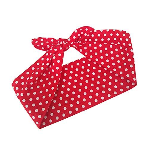 Lurrose boog hoofdbanden doek polka dot haarbanden turban hoofd wikkelen bogen accessoires make-up cosmetica gezichtsdouche spa yoga elastische haarband voor meisjes vrouwen (rood)