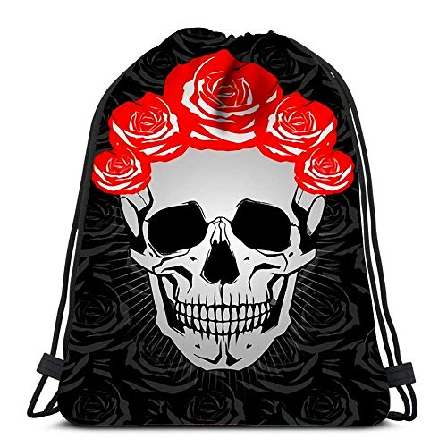 JDHFJ Bolsa con cordón Drawstring Backpack Bags Sports Cinch Skull with Roses for School Gym