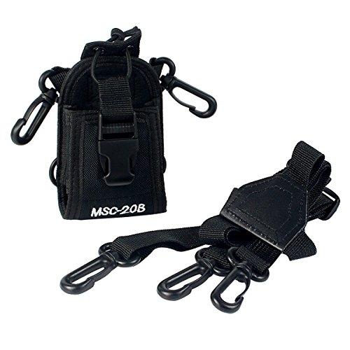 Fuyuntong - Funda MSC-20B para transmisor de radio, walkie talkie, GPS o teléfono (mano, cinturón, cuello), color negro