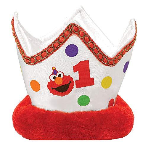 amscan 250644 Elmo Turns One Mini Child Crown, 1ct