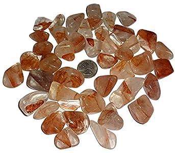 Sublime Gifts - Fire Quartz ( Hematoid Quartz ) Natural Tumbled & Polished Crystal Healing Gemstones from Madagascar - 2 Piece Set