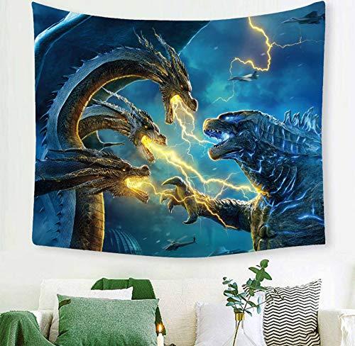Macofcust tapiz Godzilla, diseño de monstruo de la película para colgar en la pared, decoración para apartamento, hogar, arte, tapiz de pared para dormitorio, sala de estar, recámara, 60 x 50 pulgadas
