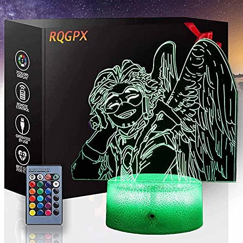 Lámpara de ilusión 3D, luz de noche 3D para niños y niñas, My Hero Academia Hawks 16 colores cambiante automático interruptor táctil decoración de escritorio