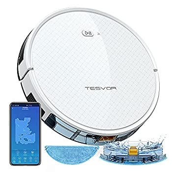 Tesvor Robot Vacuum Cleaner Robotic Vacuum and Mop 1800Pa Strong Suction WiFi/App/Alexa Quiet Self-Charging Robotic Vacuum Cleaner Clean from Hardfloors to Low-Pile Carpets for Dust and Pet Hair