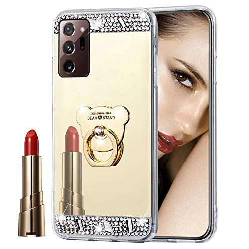 Glitzer Spiegel Hülle für Samsung Galaxy Note 20 Ultra Gold, Misstars Bling Diamant Strass Überzug TPU Silikon Handyhülle Ultradünn Kratzfest Schutzhülle mit Bär Ring Ständer