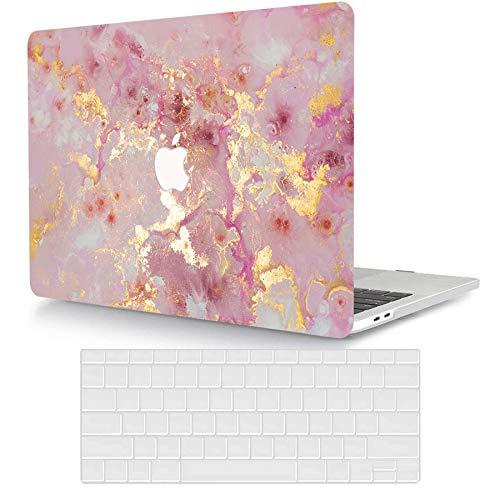 Bandless ACJYX Funda Compatible con MacBook Air 13 Pulgadas A2337 M1 A1932 A2179 Versión 2020 2019 2018 Pantalla Retina & Touch ID, Plástico Carcasa Rígida & Cubierta de Teclado, Oro y Rosado