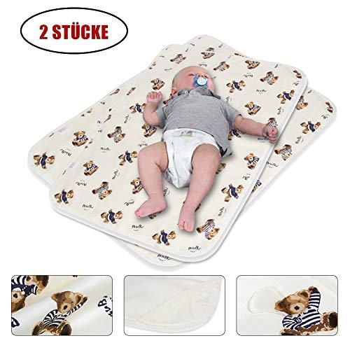 2 Stücke Waschbar Wickelunterlage Säugling für Babys und Kleinkinder Kranker - Baumwolle Atmungsaktiv, Wasserdicht, Wiederverwendbare Urin Matte Abdeckung (Bär, S - 35 x 45 cm)