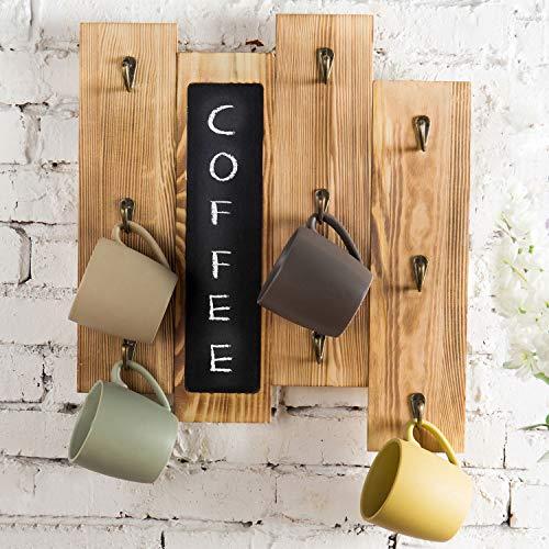 MyGift 9-Hook Torched Wood Wall-Mounted Coffee Mug Rack with Chalkboard