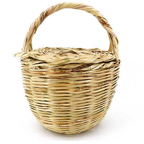 Rouven Sale Icone Parisienne Picnic Basket Tote Bag/Beige/L/cesto di vimini con coperchio cestino, borsa da spiaggia, borsa da spiaggia/borsa con manice/moderna chic rotonda/W 25 – 27 cm