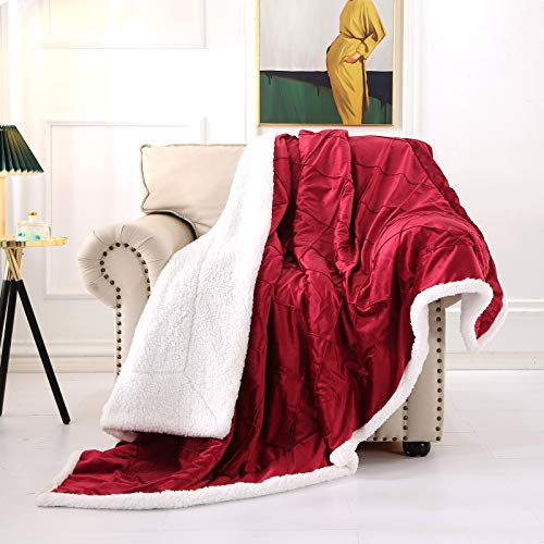 Smile Bee Sherpa Fleece Blanket - Throw Size Microfiber Lattice Plush Soft Warm Double-Sided Blankets for Bed Couch Sofa, 50 x 60 inches, Burgundy