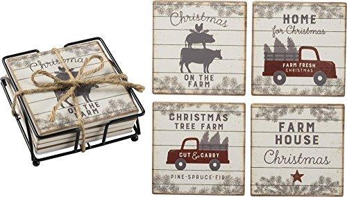 Primitives by Kathy Coaster Set Farm House Christmas Kitchen Accessories