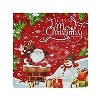 ディナークロスナプキンクリスマスサンタスノーマンの葉家族ディナー結婚式パーティーバンケットレストラン用の6つのキッチンテーブルナプキンのセット-50X 50 CM