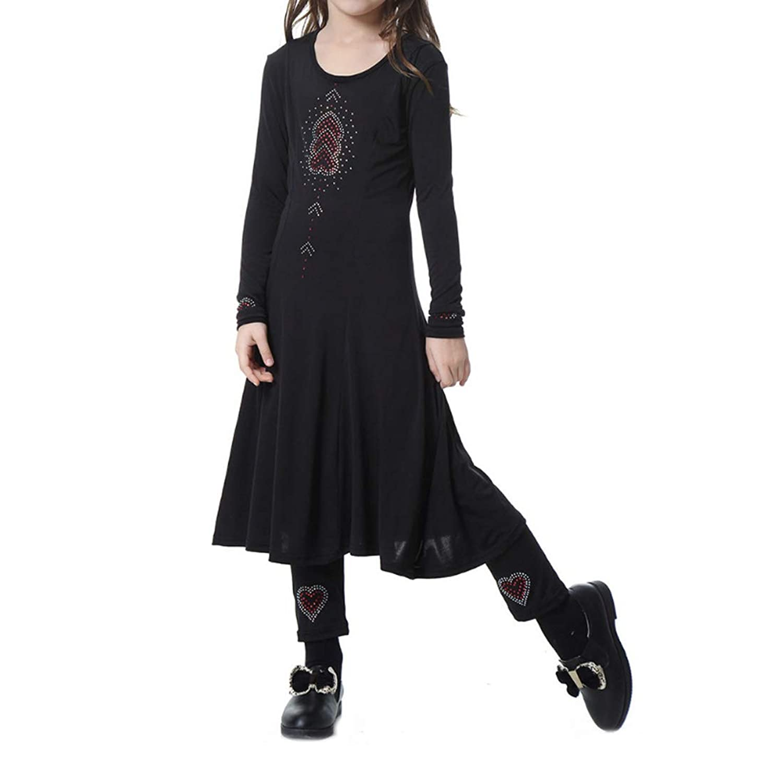 Aiweijia イスラム教徒 ドレス 女の子 余暇 マキシ ドレス+パンツ ツーピーススーツ