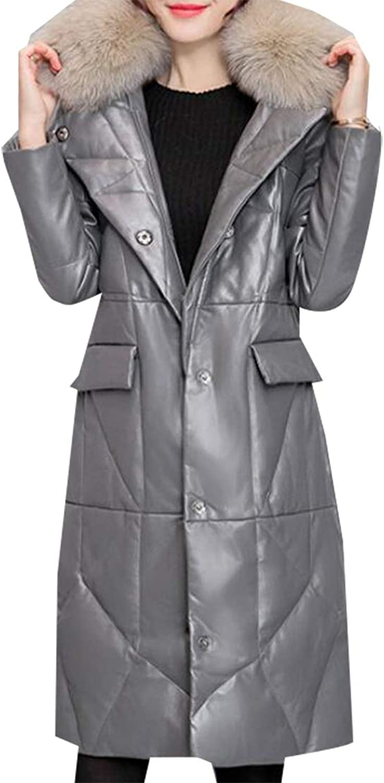 Esast Women's Winter Puffer Down Coat Jacket Faux Fur Trim Puffer Down Overcoat