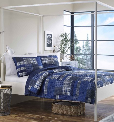 Eddie Bauer Home   Eastmont Collection   Quilt Set - 100% Cotton, Reversible, All Season Bedding, Pre-Washed for Added Softness, King, Navy