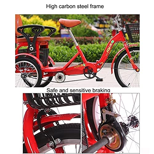 zyy Adult Trike 1 Speed 3-Wheel Three Wheel Cruiser Bike Foldable Tricycle with Basket for Adults Large Size Basket for Recreation Shopping Exercise for Men And Women (Color : Black)