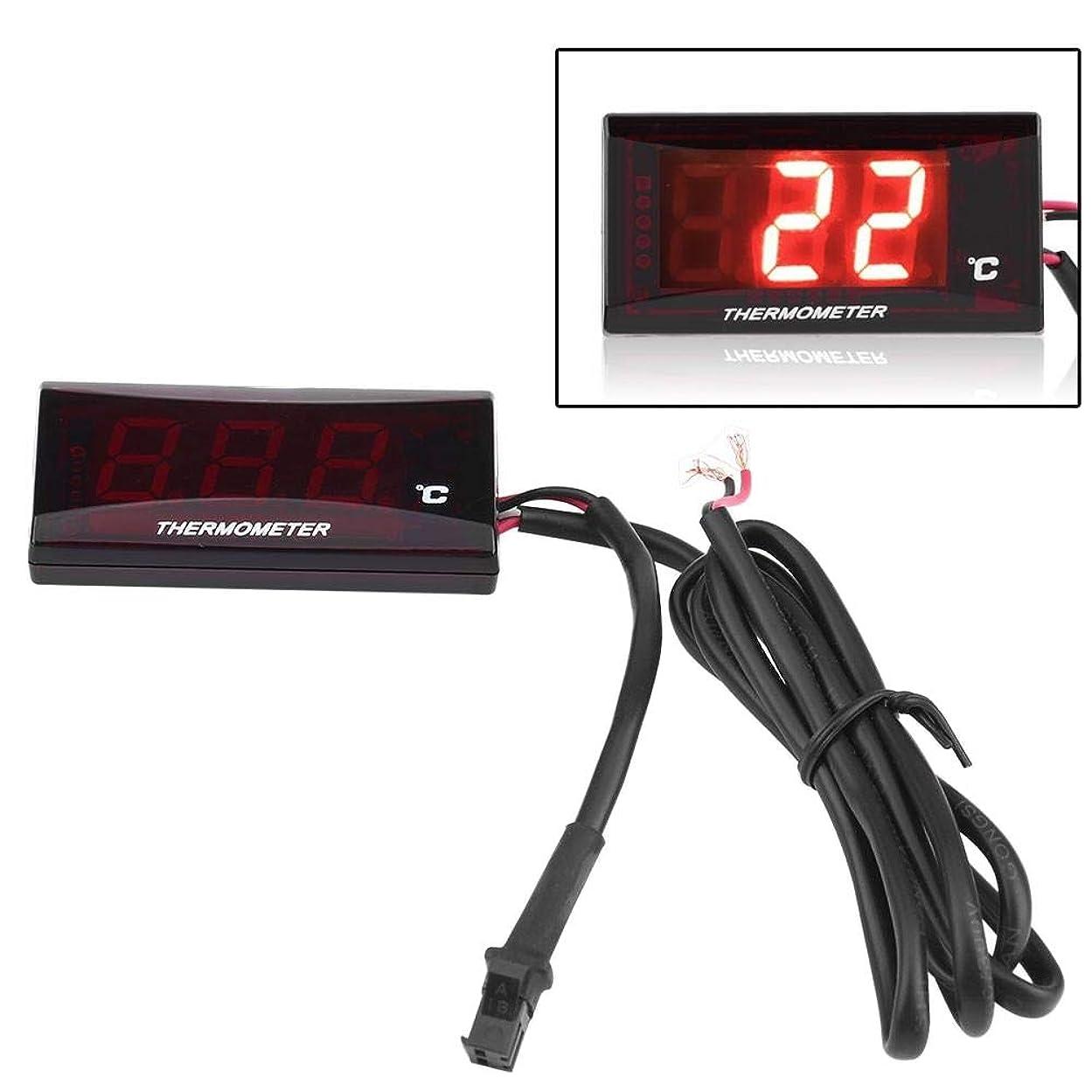 徐々に告発者ブレス汎用 水温計 自動車 オートバイ デジタル温度計 装置 水温ゲージ 温度メーター 赤いLEDライト(ブラック)