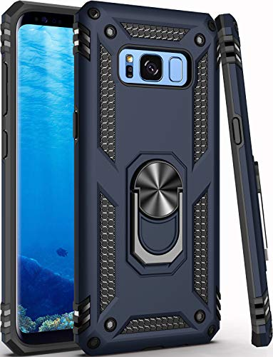 Galaxy S8 Case,(NOT for Big S8+ Plus),Military Grade 16ft. Drop Tested Cover with Magnetic Ring Kickstand Compatible with Car Mount Holder,Protective Phone Case for Samsung Galaxy S8 Blue