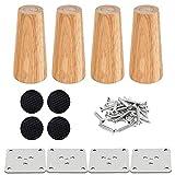 Drenky 4 piezas 12cm patas de madera para muebles patas de mesa de madera maciza cónica patas de sofá Derecho patas de repuesto para muebles con placa de montaje tornillos y protector antideslizante