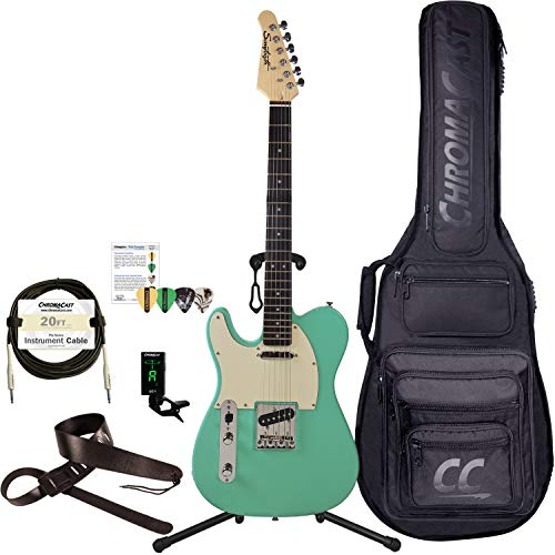 Sawtooth Classic ET 60 Ash Body Electric Guitars (Guitar with Gig Bag & Accessories, Left-Handed Surf Green)