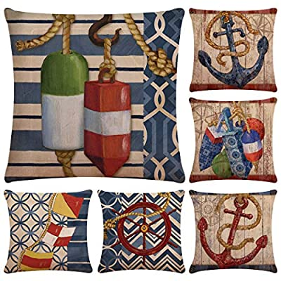 Faylapa 6 Pack Cotton Linen Pillow Cases Decorative Cushion Cover Pillowcase Indoor Sofa Decorations 18×18 Inches (45×45cm)(Case ONLY)