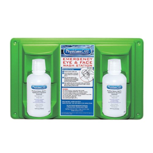 PhysiciansCare by First Aid Only 24-102 Wall Mountable Eye and Skin Flush Station with Two 16 oz Bottles, 16-1/2' L x 3-3/4' W x 13-1/2' H