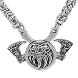 GuoShuang Stainless Steel Nordic Viking Amulet Valknut Small Bear paw Axe Necklace -King Chain with Valknut Gift Bag