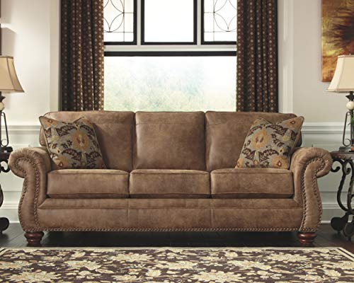 Signature Design by Ashley - Larkinhurst Queen Size Faux Weathered Leather Traditional Sleeper Sofa, Earth