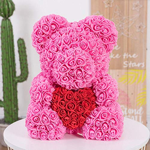 Fenghong Oso Rosa, Rosa Artificial Oso Rosa Amor Encantador en Forma d