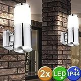 2x LED Außen Wand Leuchten Terrassen Edelstahl Garten Lampen Strahler gewellt
