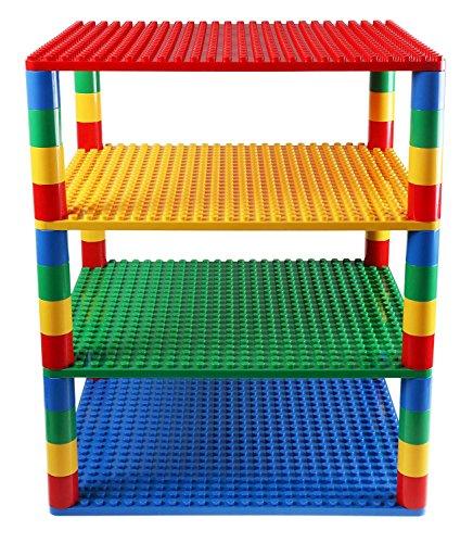 Strictly Briks Premium-Set für Turm-Konstruktionen - 4 Bauplatten & 48 Bausteine - mit Allen Marken für große Bausteine kompatibel - Blau, Grün, Rot, Gelb