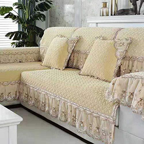 B/H 3 Plaza Funda de Sofá Elástico Cubierta,Cojín de Felpa para sofá, Funda de sofá de Tela Antideslizante-Oro Amarillo_100 * 210cm,Tejido Poliéster Cubre Sofa