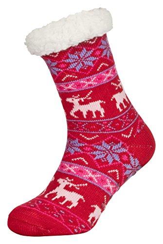 Tobeni 1 Paar Damen Hüttensocken ABS Socken Kuschelsocken mit Anti-Rutsch Noppen Sohle Grösse One Size Farbe Deer Rot