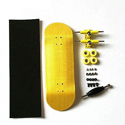 LIBAISI Monopatín de los Dedos 8 Color Skate Toys Tipo Profesional Rodamientos Ruedas Skid Pad Mapate Madera Monopatín Pieza de patinetas ( Color : Golden )