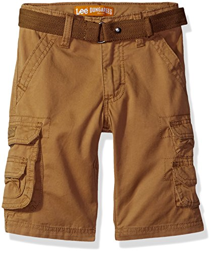 Lee Big Boys Dungarees Belted Wyoming Cargo Short, Bourbon, 14 Regular