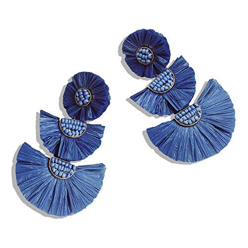 Statement Earrings Beaded Raffia Palm Bohemian Drop Dangle Earrings for women