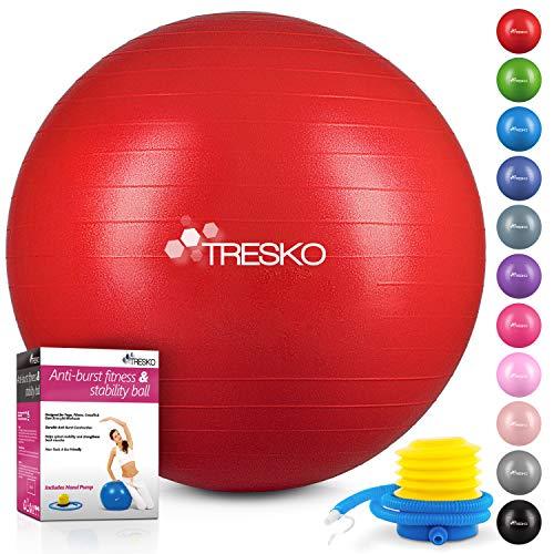 TRESKO® Anti-Burst Gymnastikball 55cm 65cm 75cm 85cm | Sitzball | Yogaball | 300 kg | mit Luftpumpe (Rot, 75cm (geeignet für 175-185cm))