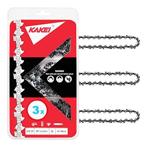 """KAKEI Cadenas de motosierra de 3/8"""", 1,3 mm de grosor (.050""""), 56 TG, 40 cm (16"""") – Compatible con Dolmar, Makita, Oregon, Black & Decker, Uno y otros (3)"""