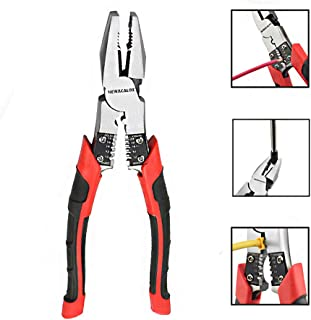 Lineman's Pliers, Combination Pliers with Wire Stripper/Crimper/Cutter Function, Heavy Duty Side Cutting High-Leverage Plier, 8-1/2 inch NEWACALOX Red