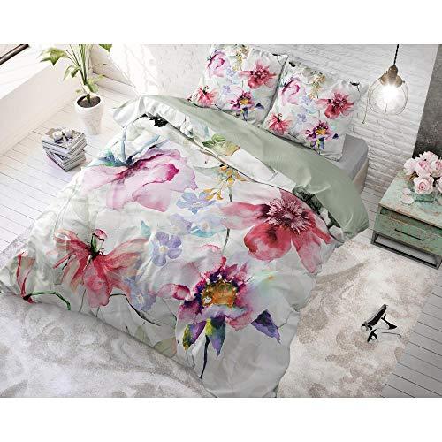 dreamhouse Bettwäsche Baumwolle Blumen Wasser, 200cm x 220cm, Mit 2 Kissenbezüge 60cm x 70cm, Bunt