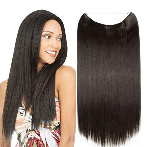 RemeeHi New Beauty Straight Like Wire Halo Hidden Invisible Fish Line Hair Extension 100% remy Human Hair 25cm 20 Inch (160g 1# Jet Black)