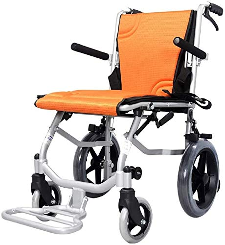 GDD Rollstuh Faltrollstuhl Leichtgewichtrollstuhl, Aluminium Folding Attendant Antrieb Rollstuhl mit Handbremsen wiegt nur 9.3kg (Color : Orange)