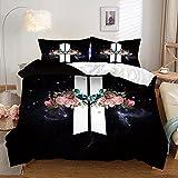 SLQL Juego de ropa de cama Anime Themed con diseño de alas de flores y alas anchas, juego de 3 piezas, funda nórdica y 2 fundas de almohada de microfibra suave 135 x 200 cm