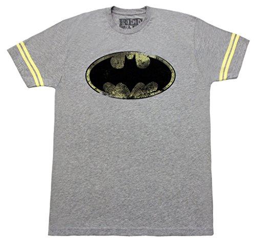 Batman T-Shirt à Manches rayées avec Logo Classique pour Adulte Gris chiné - Gris - Large