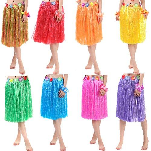 Matissa Gonna Hawaiana Hula Grass e Flower Leis Costume per Donna Luau Costume in Due Misure Lungo (60 Cm) e Corto (40 Cm) (Rosa, Corto (40 cm))