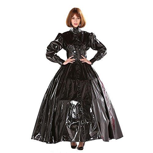 GOceBaby Gothic Punk Cool Schwarz PVC Ball Gown Kleid Kostüm Transvestit (XXXL)