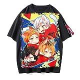 ZOSUO Unisexo Camiseta Haikyuu!! Karasuno Koukou Estampada Verano Corta Blusa T-Shirt Cuello Redondo Jersey Informal Suelto Verano Streetwear,D,XL