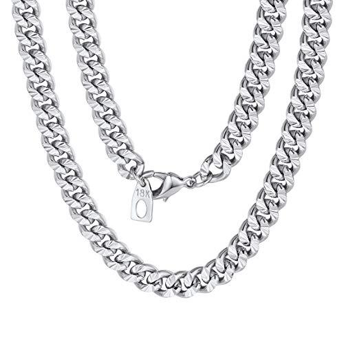 ChainsPro 4.5/7 MM Collar Curb de Eslabones Cubanos Cobre Latón Joyería Gruesa DIY Personalizada para Hombre y Mujer Plateado/Dorado/Negro/Rosado 46-81CM de Longitud (Ofrecer Servicio Grabado)
